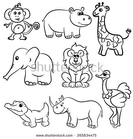Cute Outlined Zoo Animals Collection Vector Illustration Animal Line Drawings Animal Coloring Books Cat Outline Images
