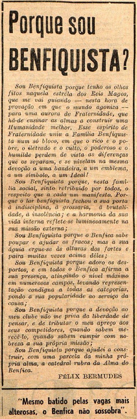 Um blogue afecto ao Sport Lisboa e Benfica. O Sport Lisboa e Benfica que sempre foi, é e sempre será de todos os seus adeptos!