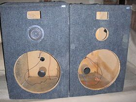 Loudspeaker enclosure - MTX Audio loudspeaker enclosures (with rear panel reflex port tubes) which can mount 15 inch woofers, mid-range drivers and horn and/or compression tweeters