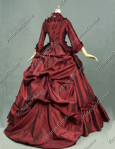 cfdf2e7402c4 Details about Victorian Layered French Bustle Masquerade Ball Gown Theater Gothic  Dress 330