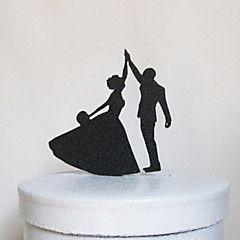 Décorations de Gâteaux Non personnalisée Couple classique Acrylique Mariage / Commémoration / Fête prénuptiale Noir 1 O-phénylphénol