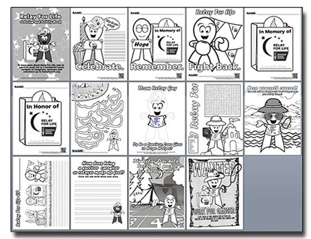 Relay For Life Coloring Book. Just a few activity pages to get youngsters excited about Relay For Life. Pages will continuously be add as will other Cancer programs like the Canadian Cancer Council. A donation would be appreciated to my Relay For Life event but it is not required. http://www.tattoomyheart.com/test/relay-for-life-coloring-book.html