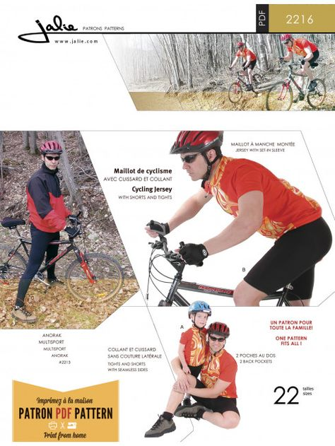 Jalie 2216 - Sewing Pattern for Cycling Jersey, Shorts and Tights