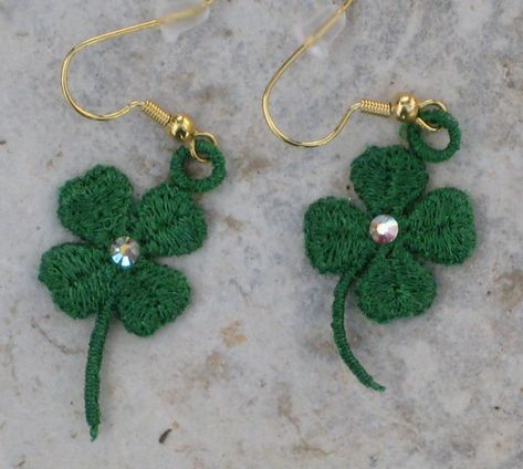 St. Patrick's Day Earrings, 4 Leaf Clover, Shamrock Design, FSL Lace, Machine Embroidered Earrings, Swarovski Crystals, Pierced, Great Gift!