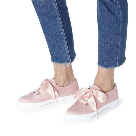 511a8c7cd45 Evalina - PinkSatin Flatform Lace Up Trainer £120.00 £84.00