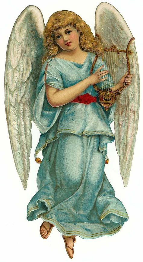 * Victorian Die Cut of Angel * light blue