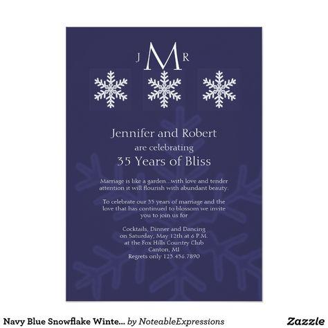 Navy Blue Snowflake Winter Wedding Anniversary Invitation