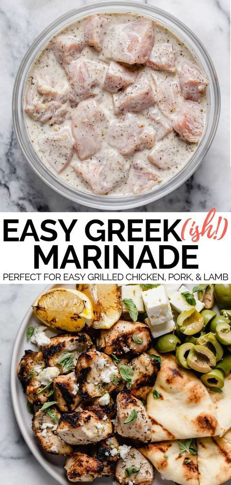 A Greek-inspired grilling marinade perfect for whenever you're grilling up a recipe or meal with a little bit of Mediterranean flare. This Greek-ish grilling marinade has a Greek yogurt base, which keeps whatever you're grilling completely tender & juicy, Healthy Food Recipes, Cooking Recipes, Healthy Greek Recipes, Healthy Grilled Chicken Recipes, Steak Recipes, Healthy Baking, Crockpot Recipes, Cooking Tips, Thm Recipes