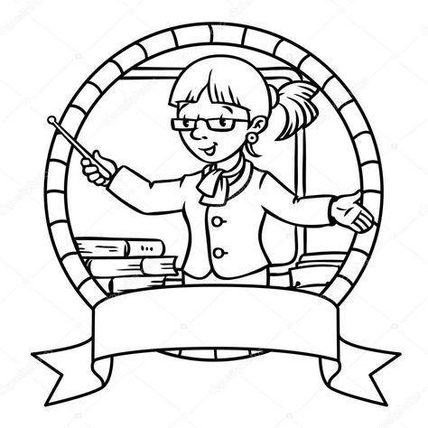 Komik Ogretmen Boyama Kitabi Veya Amblem Stok Vektor Komik Kitap