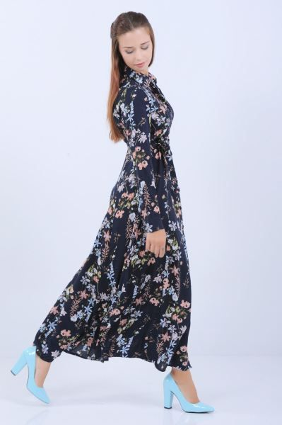 Elbise Cicek Desen Gomlek Yaka Uzun Lacivert Elbise Kislik Moda Genc Klasik Genc Giyim Style Kaliplari 2018 Stil Spo Elbise Modelleri Elbise Moda