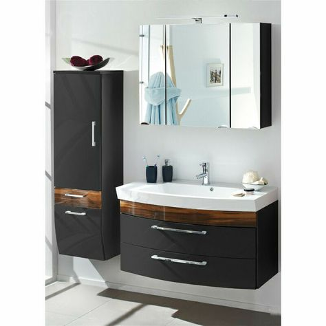 Badezimmermobel Set Hochglanz Anthrazit 100cm Waschtisch Spiegelschrank Badmobel In 2020 Bad Set Badezimmer Mobel Badezimmer Einrichtung