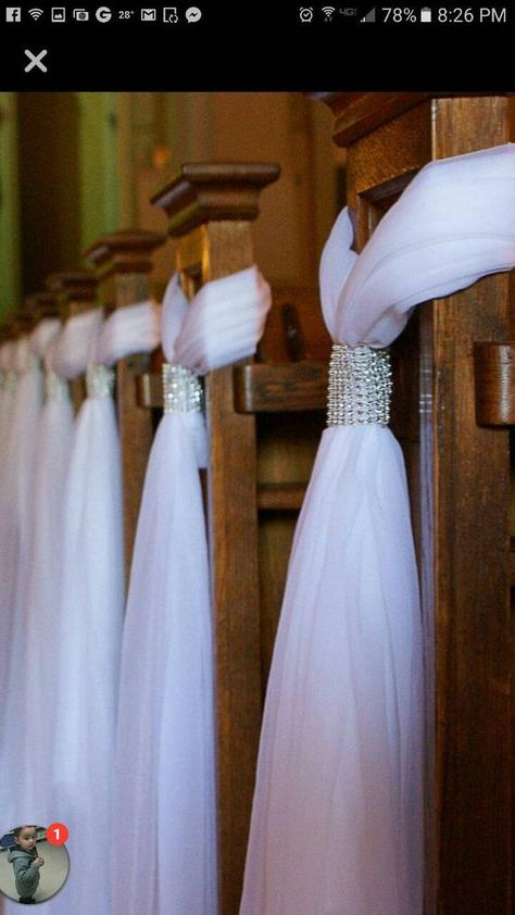 Beautiful tulle pew hangers for your perfect day. Just drape over the end of your church pew. These could also hang over the edge of a chair on a beach. Each one hangs 3ft with 2 inch rhinestone trim. Time needed to complete order is 2 -3 weeks. Thank you. Measurement is 3ft top to bottom. If you