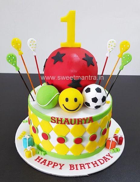 Balls Theme Customized Fondant Cake For Boy S 1st Birthday At Pune Baby Birthday Cakes Baby Boy Birthday Cake Baby First Birthday Cake