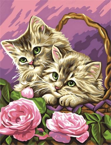 Junior Painting By Numbers Floral Kittens