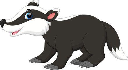 Cute badger cartoon | Cartoon, Vector illustration, Badger