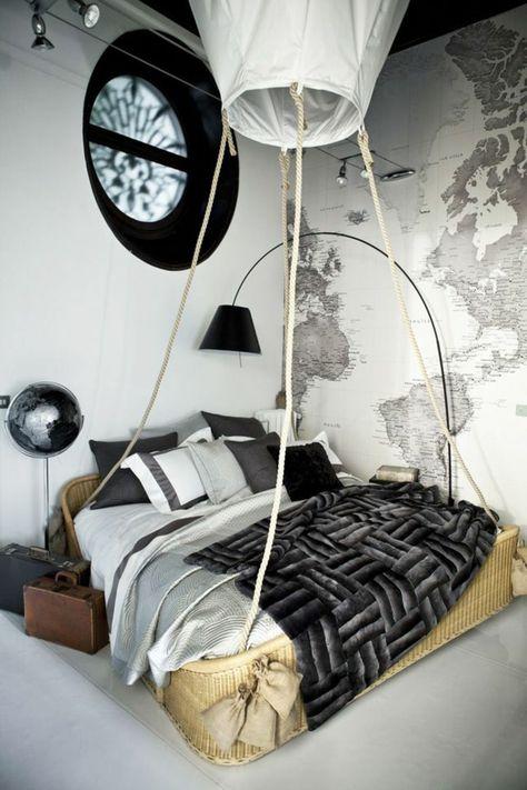 papier peint noir et blanc dans la chambre a coucher