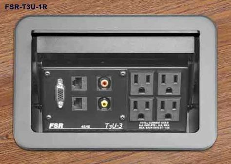 FSR T3U-3 Tilt Up Table Top Box - Equipped with 4 #AC Outlets and optional plates to allow easy access #power and #data ports. Low profile design keeps #desk area functional when connections are not in use. Accommodates standard snap-in and #keystone connectors.