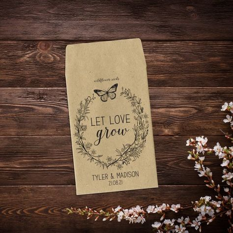 Let Love Grow Favor, Personalized Seed Packets, #weddingseedpackets #seedpacketfavors #seedweddingfavors #letlovegrow #customseedpackets #rusticweddingfavor #weddingfavorsseeds #personalizedfavors #wildflowerseeds #seedfavor #seedpacketswedding #weddingfavors #weddingfavor