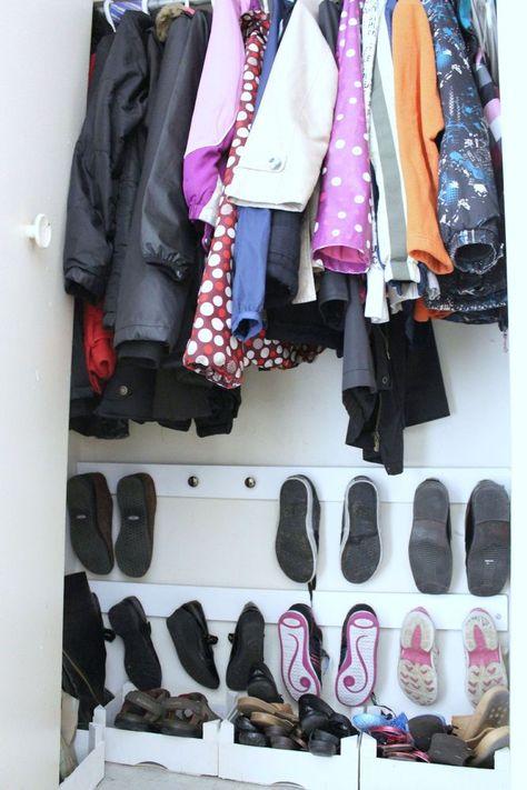 How to Organize Entry Closet Shoe Hooks DIY