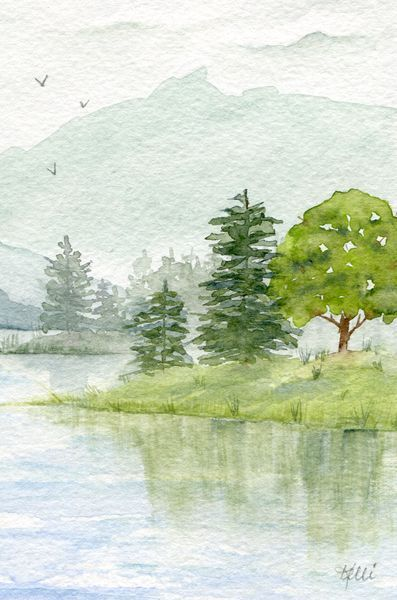 Berglandschaft Baume Malen Watercolor Landscape Paintings