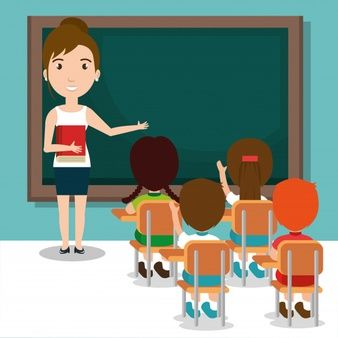 Download Woman Teacher With Students In The Classroom For Free Teacher Cartoon Animation Schools Teacher Picture