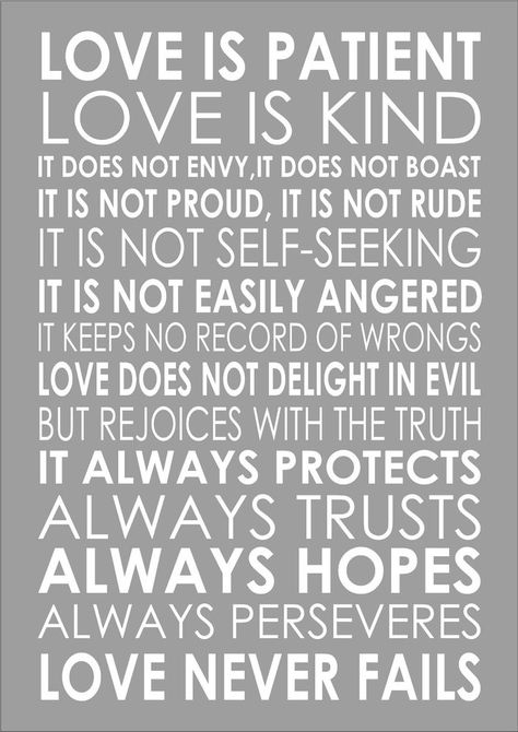Love Is Patient Love Is Kind 1 Corinthians 13:4 Popular Wedding Reading