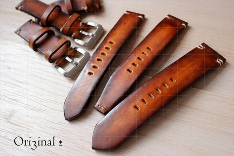 Handmade Vinatge Orange Brown Leather Watch Band/Strap by Ori3inal