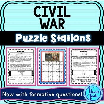 Civil War Puzzle Station Activity Abraham Lincoln Gettysburg Fun Trivia Facts Escape Room Station Activities