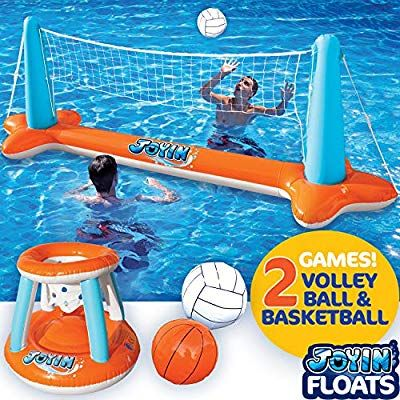 Amazon Com Inflatable Pool Float Set Volleyball Net Basketball Hoops Balls Included For Kid In 2020 Inflatable Pool Floats Swimming Pool Games Inflatable Pool Toys
