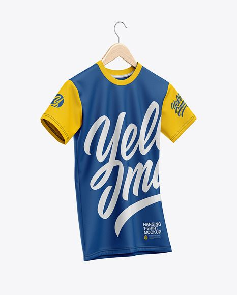 Download T Shirt On Hanger Mockup Half Side View In Apparel Mockups On Yellow Images Object Mockups Shirt Mockup Clothing Mockup Design Mockup Free