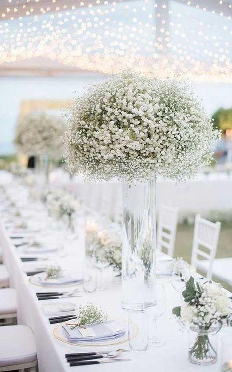 These centrepieces are so simple but elegant! #wedding #summerwedding #centrepiece #weddingtable