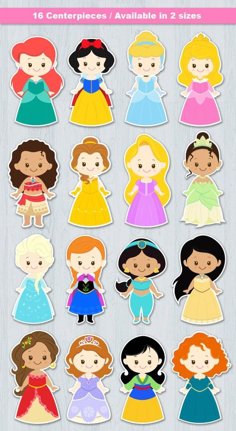 Princess Centerpiece Digital File INSTANT DOWNLOAD  * This is Printable file (PDF) and no physical items will be mailed to you.   ----------------------- ★★ Package Included ★★-----------------------------------  You will received * 1 PDF file of 16 Characters neatly layout in 8.5 x 11