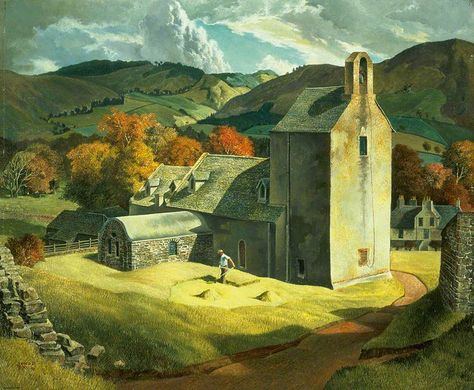 Vintage painting Repro//James McIntosh Patrick//The Artist/'s Studio Dundee//Poster