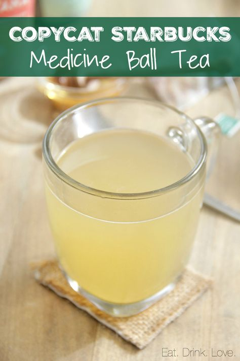 Copycat Starbucks Medicine Ball Tea - Make your own Medicine Ball right at home with 5 simple ingredients! Tastes just like Starbucks Honey Citrus Mint Tea! Starbucks Tea, Healthy Starbucks Drinks, Starbucks Recipes, Yummy Drinks, Healthy Drinks, Refreshing Drinks, Fancy Drinks, Eating Healthy, Healthy Tips