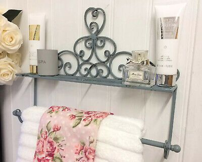 Antique French Vintage Style Cream Wall Mounted Towel Rail Bathroom Shelf Unit For Sale Ebay Antique Frenc In 2020 Towel Rail Wall Mounted Towel Rail Rustic Metal