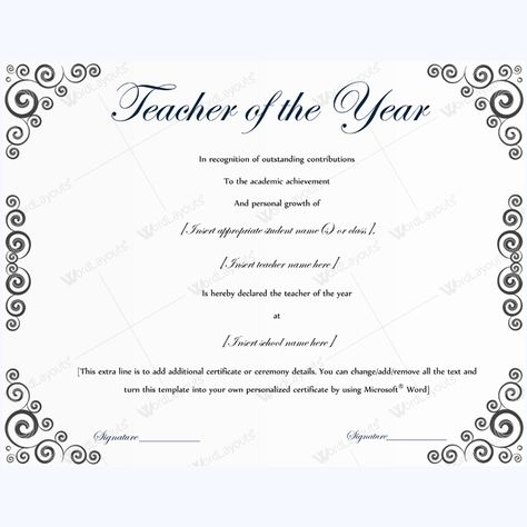 13 best Teacher of the Year Award Certificate Templates images on - award certificate template microsoft word