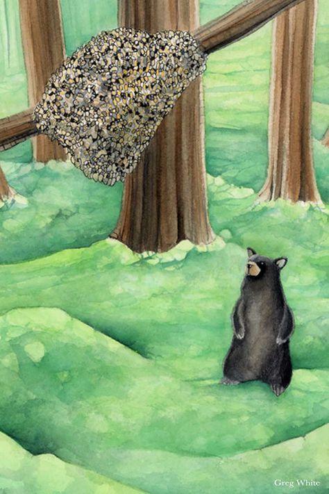 A detail closeup from the Seven of Wands from the WilderWoven Tarot. #blackbear #honeycomb #bees #forestscape #naturepainting #watercoloranimals #watercolorpainting #tarotdeck #tarotcards #wilderwoven tarot #animaltarot #naturetarot