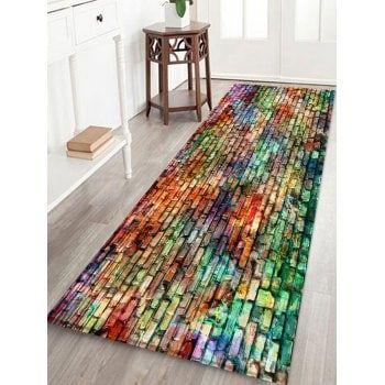 Colorful Brick Printed Fleece Floor Rug Floor Rugs Rugs On Carpet Rugs