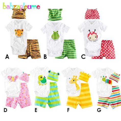3Pcs Pretty Cute Newborn Toddler Baby Boys Girls Clothes Cartoon Romper Jumpsuit