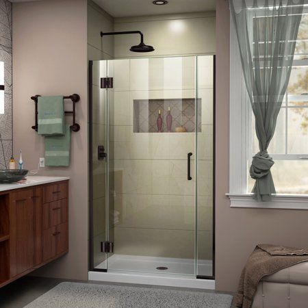 Dreamline Unidoor X 39 39 1 2 In W X 72 In H Frameless Hinged Shower Door In Oil Rubbed Bronze Brown Frameless Shower Doors Shower Doors Frameless Shower