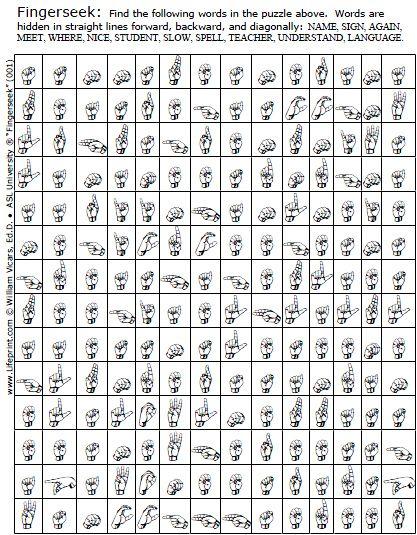 Fingerseeks American Sign Language Asl Word Search Game