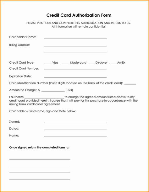 credit card authorization form template word letter for - credit card authorization form
