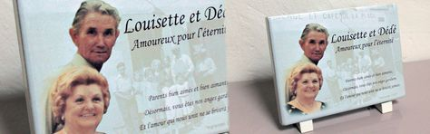 plaque funéraire: composition photo et texte sur pierre de lave émaillée.  Commémoration / Cimetière