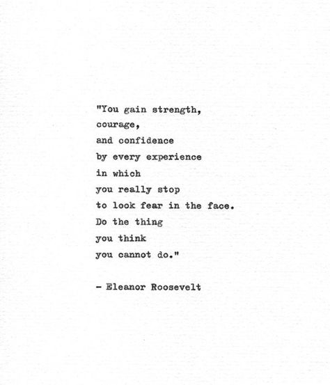 Eleanor Roosevelt Hand Typed Quote 'Look Fear In The | Etsy