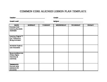 Custom  Common Core Lesson Plan Template With Drop Down Standards