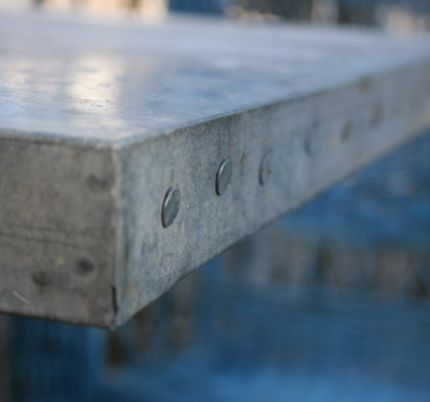 Galvanized Table Top Found On The Ground At The Salvage Yard Paired With A  Heavy Brown