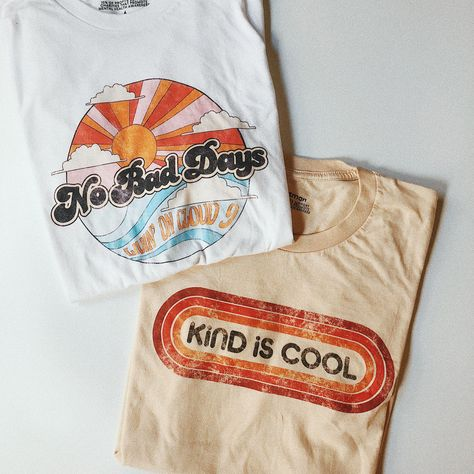 dacc05510 With perfectly distressed, worn-in graphics, these tees have a vintage t- shirt look and feel. #graphictee #vintagetee #goodvibes