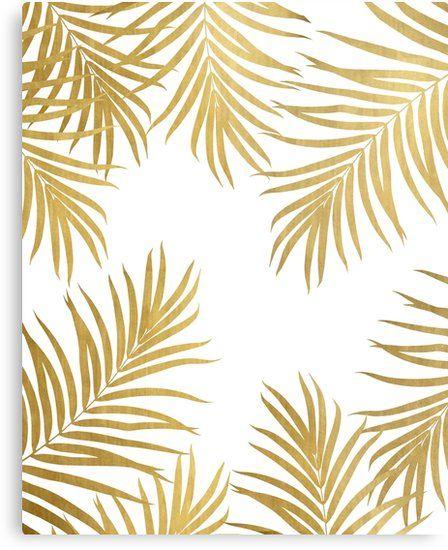 Gold Palm Leaves Vibes 1 Shiny Tropical Decor Art Metal Print By Anitabellajantz Palm Leaf Wallpaper Golden Wallpaper Tree Wallpaper