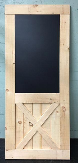 Chalkboard Door 36 X 84 Bottom X Brace Barn Door Fully Assembled Made In Usa Interiorbarndoorfa Wood Doors Interior Doors Interior Exterior Barn Doors