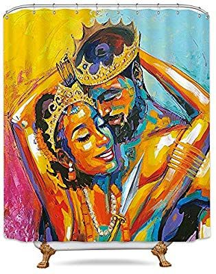 King African American Lovers Couple Shower Curtain Queen Colorful Oil Painting Decor Fabric Colorful Oil Painting Fabric Decor African Shower Curtain